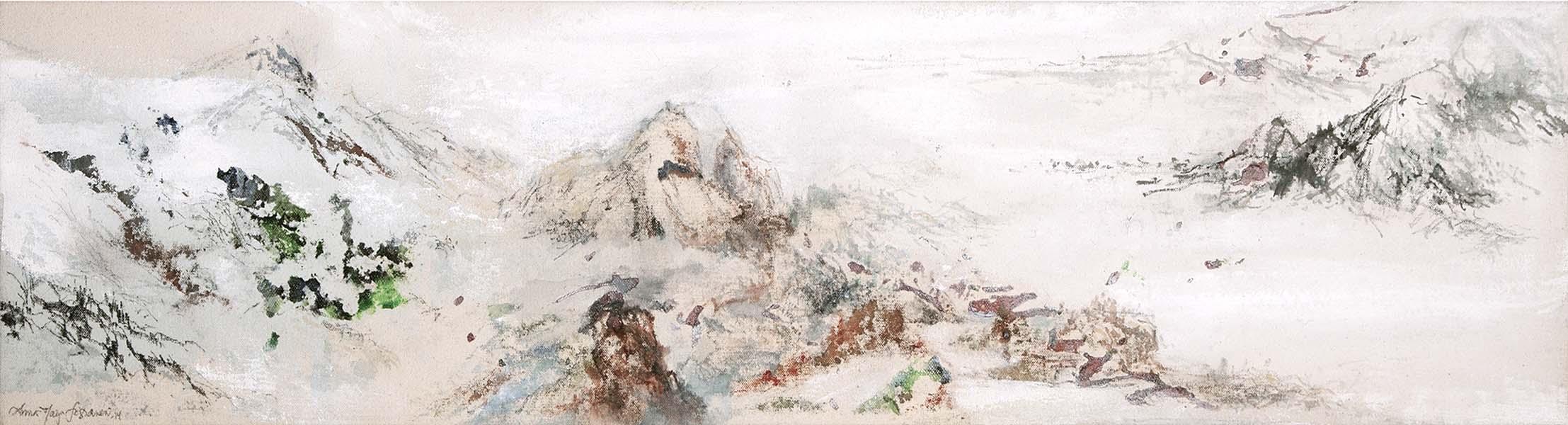 Mixed media on canvas, 20 x 75 cm, 2014